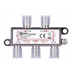 EMOS Splitter EU2244P, 4-Way splitter, 5-862mHz, 8.2dB