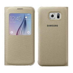 Θήκη Book S-View Samsung Fabric EF-CG920BFEGWW για SM-G920F Galaxy S6 Χρυσαφί